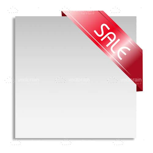 Blank Board with Red Sale Ribbon