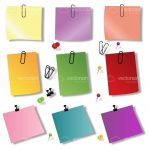 Colourful Note Papers with Paperclips and Pins