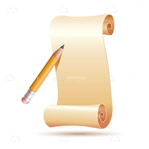 Glossy Paper Roll Sheet and Pencil