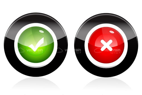Green Tick and Red Cross Button Icon Pack