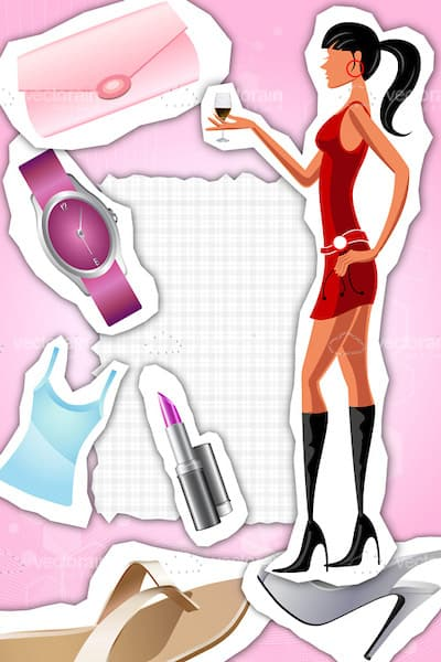 Woman in a Red Dress Alongside Various Clip Art Accessories