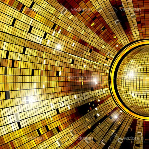 Golden Disco Ball Reflections Card Background