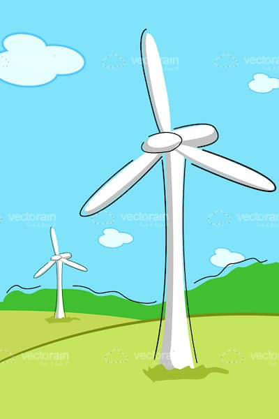 Illustrated Wind Farm Background