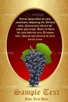 Golden Coloured Background with a Red Oval Filled with Sample Text and Grapes Icon