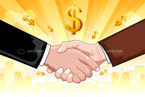 2 Illustrated Businessmen Shaking Hands Surrounded By Dollar Symbols