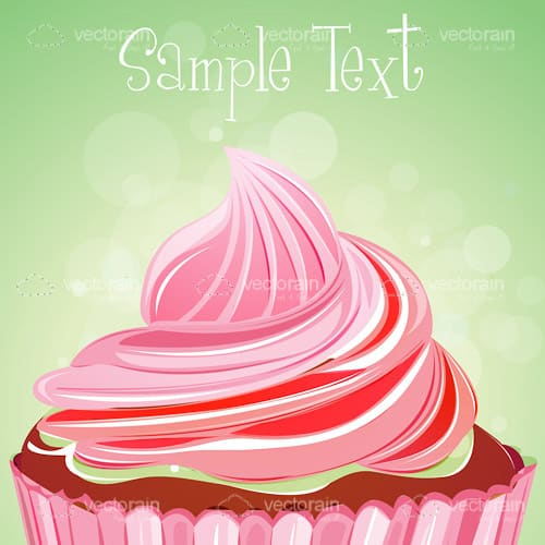Delicious Cake with Pink Icing and Sample Text