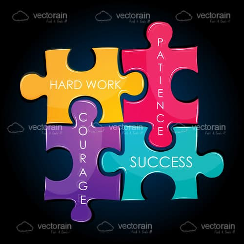 Colourful Jigsaw Puzzle with Motivation Words