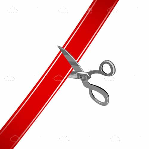 Red Ribbon Being Cut by Scissors