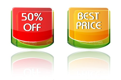 50% Off and Best Price Icons