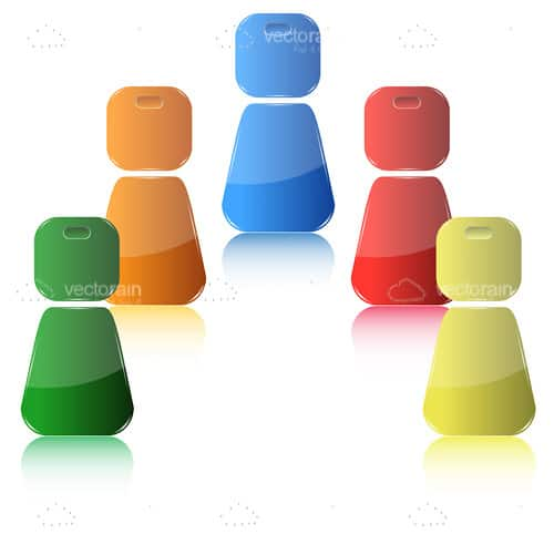 Mulitple Coloured Social Networking Themed Figures