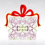 Gift Box with Floral Design and Red Bow