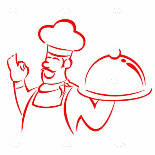 Abstract Chef with Tray in Sketch Style