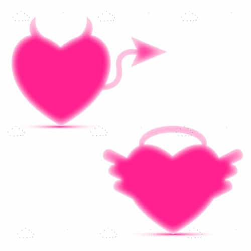 Neon Pink Good and Bad Heart Designs