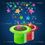 Green and Red Magician Top Hats with Colourful Stars