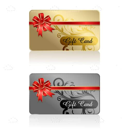 Gold and Silver Gift Cards with Floral Pattern and Ribbon