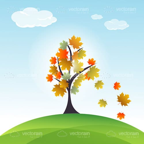 Autumn Tree with Falling Leaves on a Green Hill and Blue Sky Background