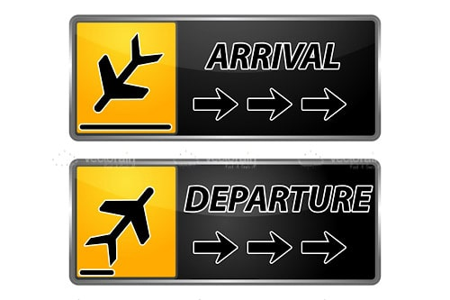 Arrival and Departure Signs with Abstract Plane Icons