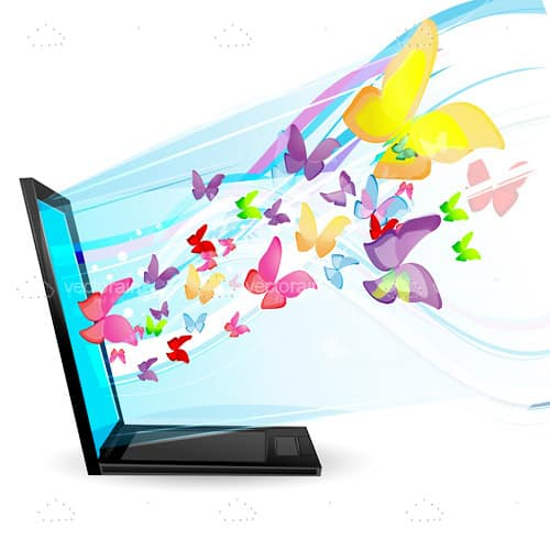 Side On View Of A Laptop With Colourful Butterflies Coming Out Of The Screen