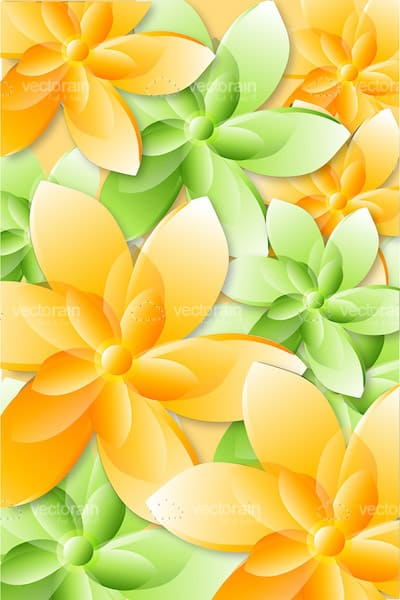 Abstract Green And Orange Floral Background Vectorjunky