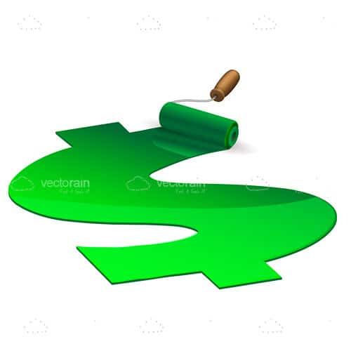 Paint Roller Drawing Green Dollar Symbol