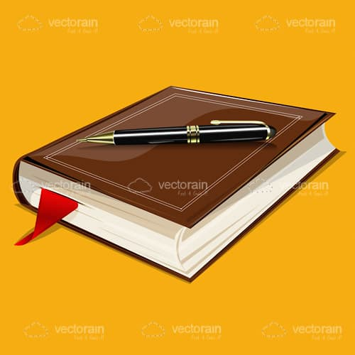 Illustrated Book and Pen on an Orange Background