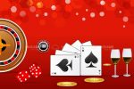 Gambling Theme with Card Suits, Roulette, Chips and Wine Glasses