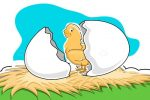 Illustrated Chicken Hatching from Broken Egg