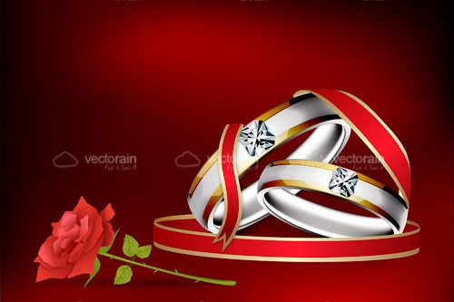 Pair of Wedding Rings with Red Ribbon and Rose