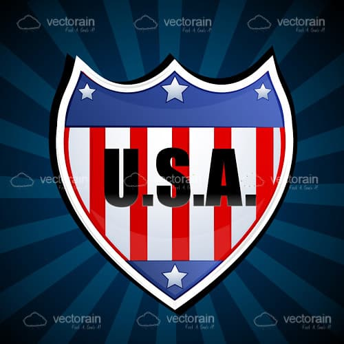Abstract Shield with USA Flag Design