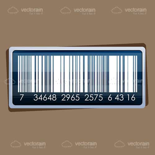 Realistic Barcode Sticker on a Cardboard Box Background
