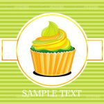 Cupcake with Icing on Striped Background with Sample Text