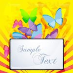 Colourful Abstract Butterflies with Text Frame and Sample Text
