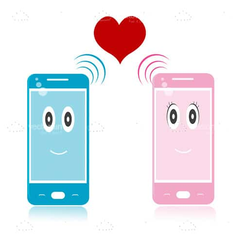 Pink and Blue Mobile Phone Icons with Red Heart and Signal Bars