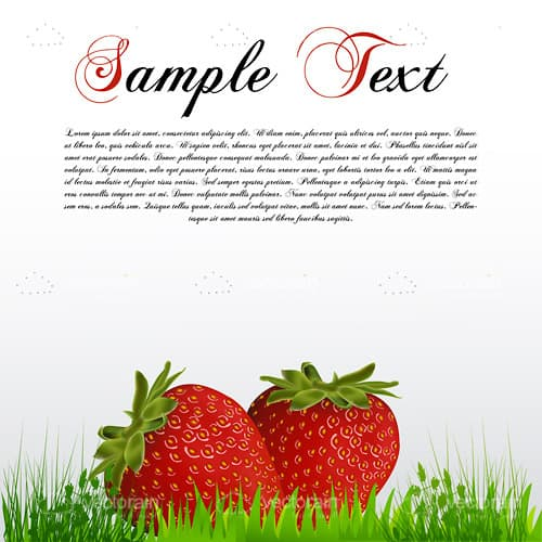 Pair of Strawberries on Grass with Sample Text