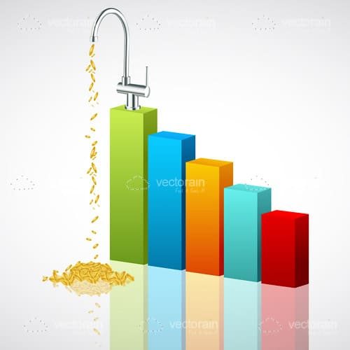 Growth Bars Graph with Tap Pouring Golden Coins