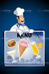 Abstract Chef Holding Menu Board with Food and Drinks