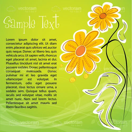 Abstract Background with Sketchy Flowers and Sample Text