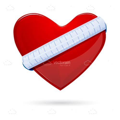 Glossy Red Heart with Measuring Tape