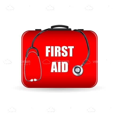 Red First Aid Box with Stethoscope Icon