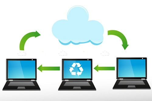 Trio of Black Laptops Below a White Cloud with Recycling Logo