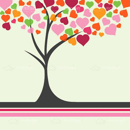 Abstract Tree with Colourful Heart Shaped Leaves