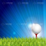 Golf Ball on Tee over Green Grass and Blue Sky