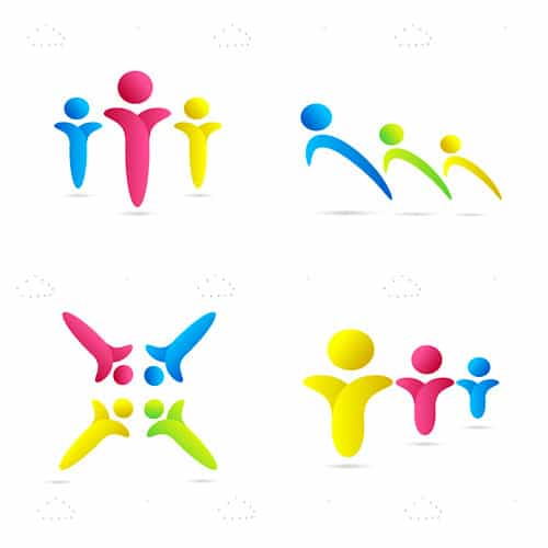 Blue, Pink and Yellow Human Figurines Icon 4 Pack