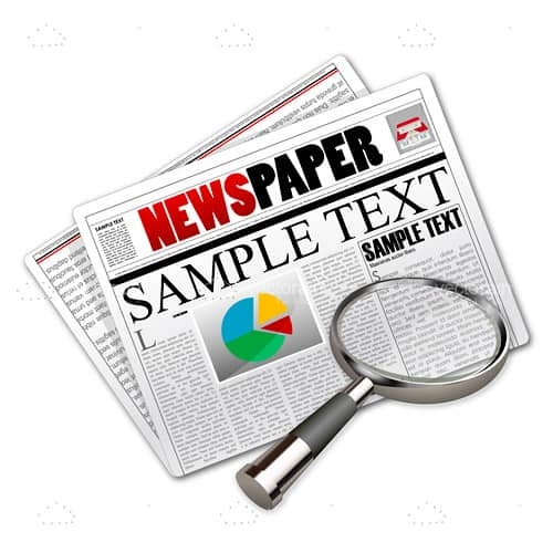 Folded Newspaper Design with Sample Text and a Magnifying Glass Icon