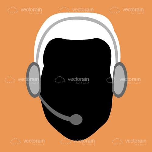 Abstract Silhouette of Man with Headset in Black and White