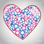 Abstract Heart with Male and Female Symbols Pattern