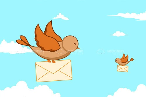 Illustrated Birds in Sky Carrying Envelopes