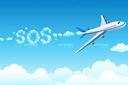 Airplane Flying Across Sky with SOS Text