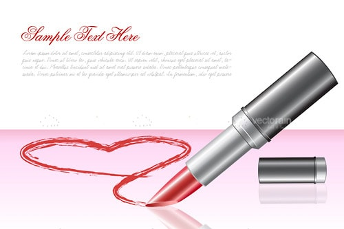 Red Lipstick Drawing Heart on Background with Sample Text