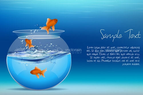 Trio of Goldfish Jumping from Fishbowl Next to Sample Text